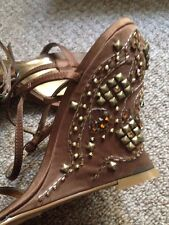 Ravel Brown Strappy Wedges Jewels Gold Size UK 4/ 37