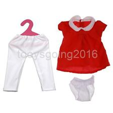 Red One-piece Dress Leggings Pants Clothes Fit for 17'' Zapf Baby Born Doll