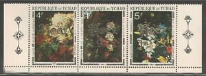 "Chad #278A VF MNH - 1972 1fr to 5fr Paintings of Flowers - Ovpt. ""Noel 1972"""