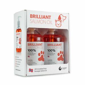 BRILLIANT Salmon Oil 100% Natural Dog & Cat Food Supplement 2 x 300ml Bottles 🇳