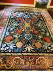 9.1 X 12 Red/ Blue/Gold Hand Knotted Oriental Wool Rug