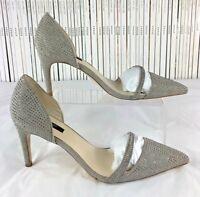 ZARA heels shoes cutaway minimalist silver glitter crystals pointy toe 40 UK 7