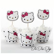 12x Hello Kitty Cupcake Topper + Wrapper. Girl Party Supplies Lolly Loot Bag Cat