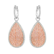 2.54ct Fancy Pink Diamonds Earrings 18K All Natural 10 Grams Real Rose Gold