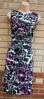 SAVOIR WHITE PURPLE BLACK COTTON FLORAL SLEEVELESS BODYCON COCKTAIL DRESS 20