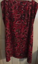 SKIRT SZ 26W RED MIDI GEORGE FLORAL ELASTIC WOMANS SLIMMING SEXY