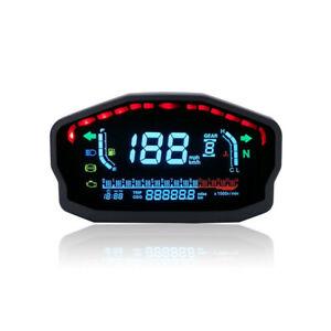 LCD Digital Motorcycle Speedometer Tachometer Cafe Racer Moto Odometer Km/h MPH