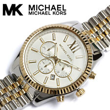 NEW MICHAEL KORS MK8344 LEXINGTON TWO-TONE ANALOG SILVER DIAL MENS WATCH
