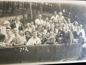 OLD RP POSTCARD GROUP IN A CHARABANC BUS BY SCOTTS OF JERSEY