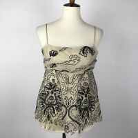 Hoss Intropia Beige Black Embroidered Tank Top Blouse Shirt Tank Top Sz 42