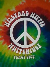 HILLYARD HIPPIE FESTIVAL PEACE SIGN t shirt L tie dye grateful dead love guitar