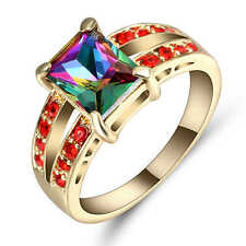 Size 8 Rainbow topaz&red Engagement Ring 18K Yellow Gold Filled Wedding Band