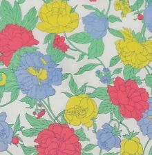 Floral Fabric Yellow, Red & Blue on White Cotton Quilting Bright Colors