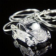 w Swarovski Crystal 3D VW Beetle VOLKSWAGEN Classic Bug CAR Charm Chain Necklace