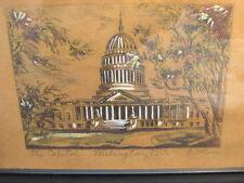 antique colored  engraving  washington D.C