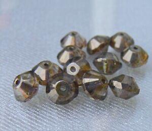 Brown Lumi Saturn Rivoli Czech Glass Beads Spacer 12 Pcs #01GAR