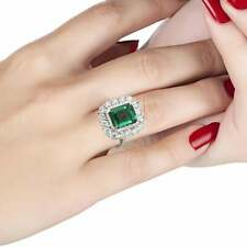 Vibrant Green 3.15CT Emerald With Sparkling White 3.53CT CZ Cluster Wedding Ring