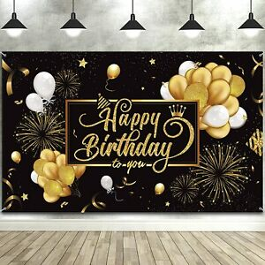 8x6.5ft Happy Birthday Polyester Photography Background Arch Golden Spots Lines Black Backdrop Child Baby Adult Birthday Party Banner Cake Smash Childish Wallpaper