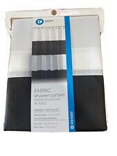 """InterDesign Zeno Fabric Shower Curtain, Stall 54"""" x 78"""", Black/White"""