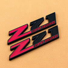 2x Z71 Off Road Metal Badge Emblem Black Red Decal for Chevy Silverado Sierra
