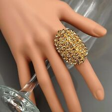 18K Gold Plated GP Clear Crystal Rhinestone Adjustable Fashion Custom ring 00287