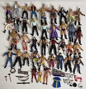 Huge Lot 53 Wrestling Figures And Accessories Jakks Mattel 1998-2002 WWE WWF WCW