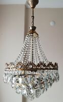 """French Basket Style Vintage Brass & Crystals Chandelier Antique Lamp """"213-05"""""""
