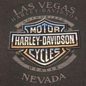 Harley Davidson Pocket T-Shirt Las Vegas 2-sided Small Gray Casino Motorcycle