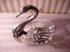 Sterling Articulated Winged Swan With Crystal Open Salt Base /NR