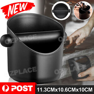 Black Coffee Waste Container Espresso Grinds Knock Box Tamper Tube Bin Bucket AU