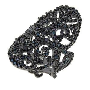 """Exclusive! Rarities 4.87Ctw Black Spinel """"Tattoo"""" Ring Size 7 Hsn $225"""