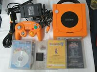 L355 Nintendo Gamecube Official Console Orange Japan GC w/Controller adapter