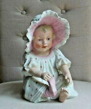 "New ListingAntique Gerbruder Heubach Bisque Blonde Piano Baby Girl Pink Bonnet 10-1/2"""