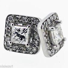 1.08ct Princess Cut Diamond Halo Stud Earring F Vvs1 14k white gold Screw back.