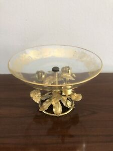 Gold Tole Roses Tazza Gilt Glass Compote Bowl Vintage Hollywood Regrncy Italy