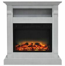 34 In. Electric Fireplace with Enhanced Log Display and White Mantel