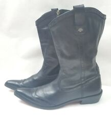 Harley Davidson Womens Boots Pointed Toe Black Leather Zipper Biker Boots Size 9