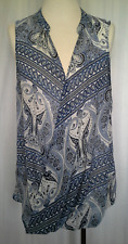 Ladies Womens Sleeveless Blouse Shirt Top Sheer Crossover Drape Katies Size 14