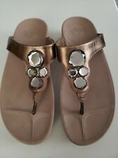 Fitflop Preowned Bronze Leather Bling Wedge Sandals Womens Size 9M