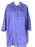 J Jill Love Linen Womens Plus Size 2X Tunic Purple 3/4 Sleeve Popover Top Shirt