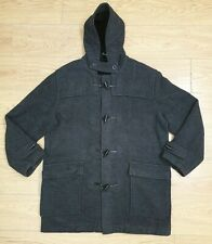 H&M mens grey hooded thick fleece winter trench coat jacket Size UK XL