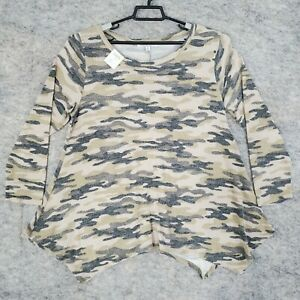 Green Envelope Sweater Womens 1X Pullover Beige Green Camouflaged Long Sleeve