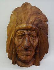 Ältere grosse geschnitzte Holz Maske Indianer Häuptling Deko Holzmaske