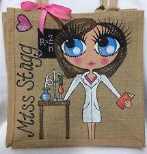 Personalised Handpainted Jute Science Chemistry Teacher Lab Handbag Hand Bag