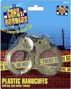 Fancy Dress Hand Cuffs Plastic & Keys Cop Convict Handcuffs by Smiffys New