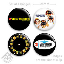 VIEWMASTER Reel Viewer Advert - Set of 4 x 25mm Badges - Set 3