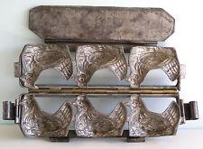 Antique Double Chocolate Mold THREE HENS CHICKENS Van Emden - Walter Co. Germany