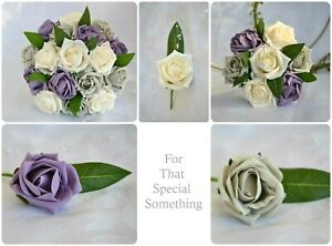Wedding bouquet flowers in purple, grey & iced peach with greenery. corsage posy