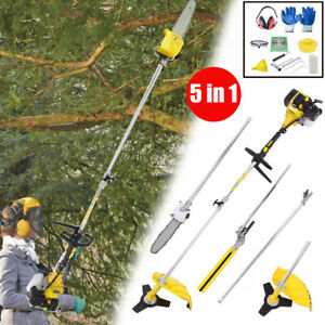 5 in1 Pole Chainsaw Long Reach 52cc Pertrol Strimmer Trimmer Tree Branch Cutter