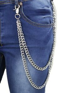 Men Silver Metal Wallet Chains Keychain Biker Thick Links Side Jeans 2 Strands
